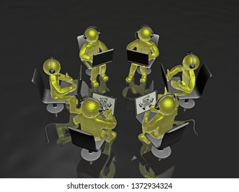 Yellow mans with laptops - abstract computer background, 3D illustration.