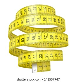 Yellow measuring tape isolated on white background with clipping path