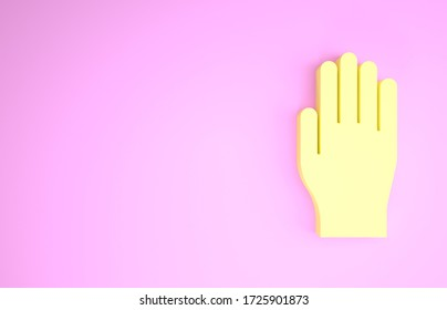 Yellow Medical rubber gloves icon isolated on pink background. Protective rubber gloves. Minimalism concept. 3d illustration 3D render