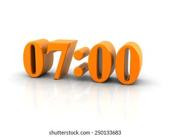 yellow metallic time number 7 o'clock on white background, digitally generated image.