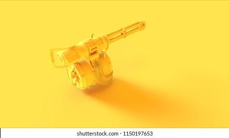 Yellow Mini Gun 3d illustration 3d render