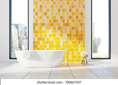 Yellow minimalistic bathroom interior with a white floor, two narrow and tall windows with a cityscape and a white tub. 3d rendering mock up