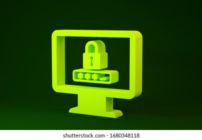 Yellow Monitor with password notification and lock icon isolated on green background. Security, personal access, user authorization, login form. Minimalism concept. 3d illustration 3D render
