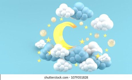 The yellow moon in the clouds and the stars on the blue background.-3d render.
