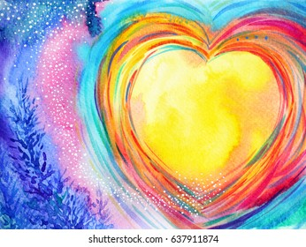 yellow moon heart watercolor painting illustration design valentine wedding symbol