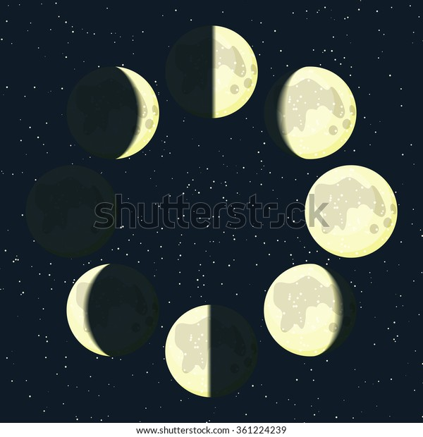 Yellow Moon Phases Icons On Beautiful Stock Illustration 361224239