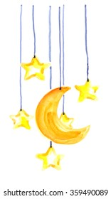 Yellow moon and stars hanging from strings painted in watercolor on white isolated background