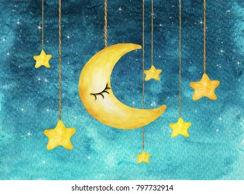 Yellow moon and stars hanging from strings painted in watercolor on white isolated background, night sky background