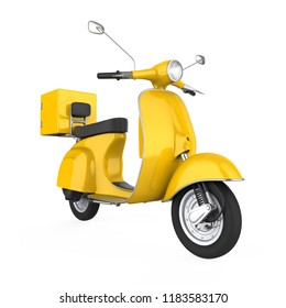 Yellow Motorcycle Delivery Box Isolated. 3D rendering