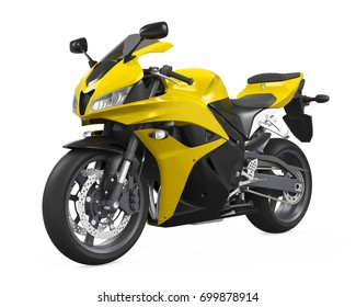 Yellow Motorcycle Isolated. 3D rendering