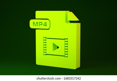 Yellow MP4 file document. Download mp4 button icon isolated on green background. MP4 file symbol. Minimalism concept. 3d illustration 3D render