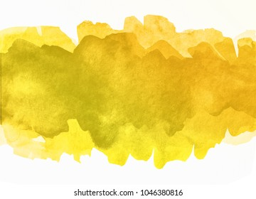 yellow multilayer strip splash watercolor hand drawn paper texture torn isolated stain on white background for design, decoration. abstract colorful paint striped shape element for banner, template m
