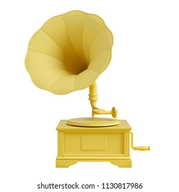 Yellow old gramophone with vinyl disk isolated on white background. Trendy fashion style. Minimal design art. 3d illustration.