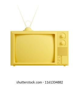 Yellow old television isolated on white background. Trendy fashion style. Minimal design art. 3d illustration.