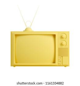 Yellow old television isolated on white background. Trendy fashion style. Minimal design art. 3d illustration.
