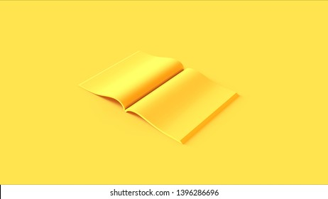 Yellow Open Magazine 3d illustration 3d render