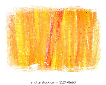 Yellow / orange abstract hand painted background texture with grungy weathered border