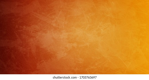 Yellow orange background with faint texture and distressed vintage grunge and watercolor paint stains in elegant Christmas backdrop illustration
