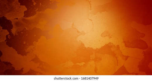 Yellow orange background with texture and distressed vintage grunge and watercolor paint stains in elegant Christmas backdrop illustration
