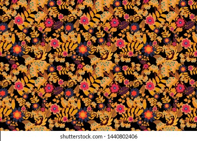 Yellow, orange and magenta background with flowers pattern. Raster floral seamless pattern.
