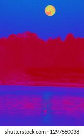 yellow orange moon wolf moonset water reflection no wake zone royal blue sky