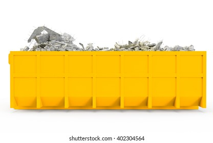 Yellow Orange rubble container left profile view isolated on white background. 3D Rendering, 3D Illustration.