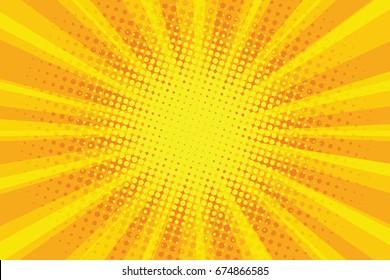 yellow orange sun pop art retro rays background  illustration