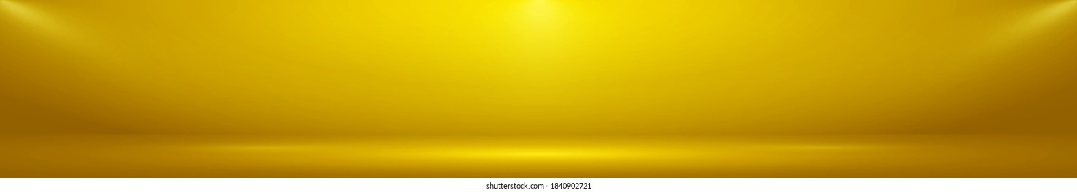 Yellow panoramic studio fon with white glow