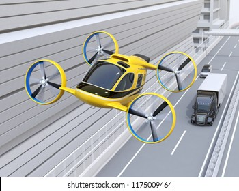 Yellow Passenger Drone Taxi flying over American truck driving on highway. 3D rendering image.