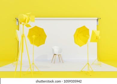 Yellow photo studio with lighting equipment. 3d