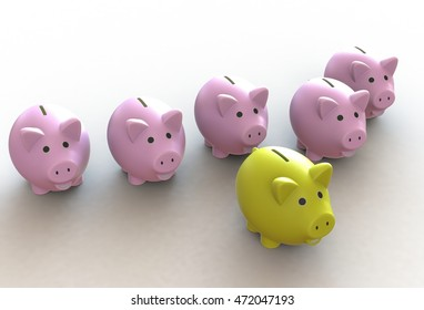 Yellow piggy bank in the front of many pink piggy bank, 3D rendering