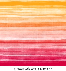 Yellow pink brush strokes. Abstract hand drawn watercolor background. Aquarelle colorful  striped texture.