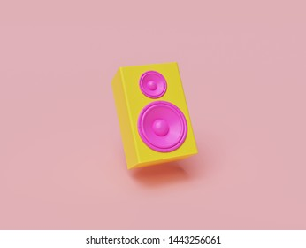 yellow and pink colored speaker on pastel color background. Minimalism concept. 3d rendering