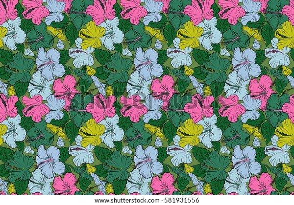 Yellow, pink and green hibiscus flowers in a trendy raster style. Hawaiian tropical natural floral in yellow, pink and green colors.