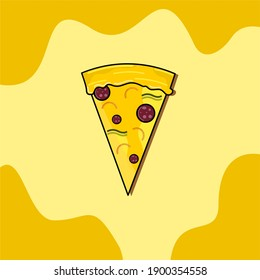 Yellow pizza slice illustration with yellow abstract background. can be used for icons, background, wallpaper, sticker design, t-shirt design