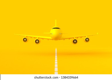 Yellow plane flying on the runway. selective focus and yellow background. minimal idea concept, 3D Render.