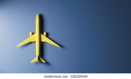 Yellow plane on blue background, top view. Airplane top view. Airplane on blue background with copy space for text. 3d illustration