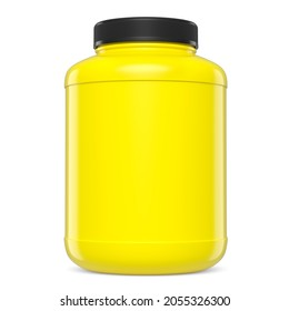 Yellow plastic jar for sport nutrition whey protein and gainer powder isolated on white background. 3d rendering of sport supplement for crossfit, trx and powerlifting workout