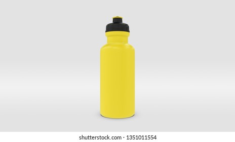 Yellow Plastic Squeeze Bottle for Souvenir and Product Mockup Isolated on Studio or Infinite Background (3D rendering)