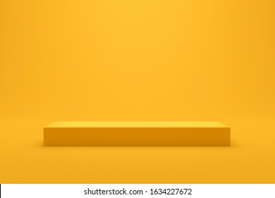 Yellow podium shelf or empty studio display on vivid summer background with minimal style. Blank stand for showing product. 3D rendering.
