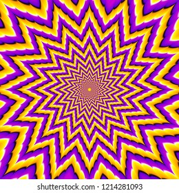 Yellow and purple  flower blossom. Optical expansion illusion.