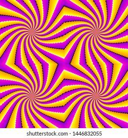 Yellow and purple spin illusion. Seamless pattern