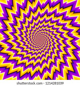 Yellow and purple spirals. Optical expansion illusion.