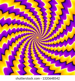 Yellow and purple spirals. Spin illusion.