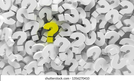 Yellow question mark on a background  of question marks. 3d illustration design abstract