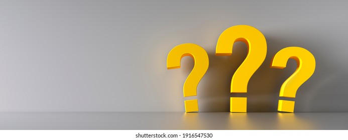 Yellow question marks standing on the floor, leaning aganst a grey wall - 3D illustration