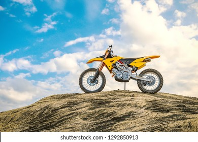 Yellow racing motorcycle on the motocross track. The off the road. 3d render