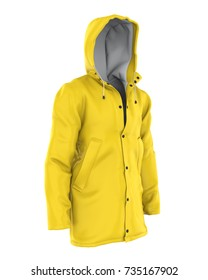 Yellow Rain Coat Isolated. 3D rendering