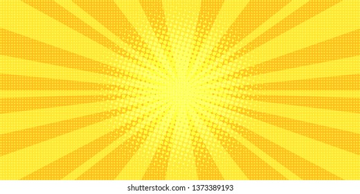 yellow rays background pop art retro  illustration kitsch drawing