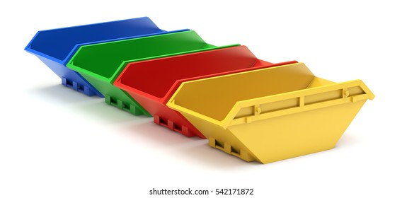 Yellow, red, green and blue waste skip - 3D illustration